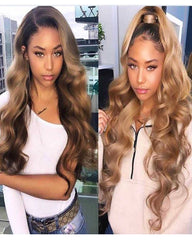 Ombre Remy Human Hair Body Wave Hair 13x6 Lace Frontal Wig 8-26inch 1B/27 Color