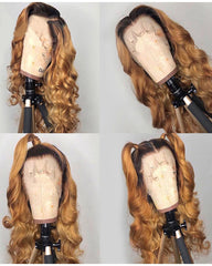 Ombre Remy Human Hair Body Wave Hair 360 Lace Frontal Wig 8-26inch 1B/27 Color