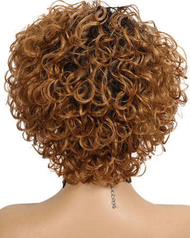 Ombre Remy Short Human Hair Curly Wig None Lace Hair Wig 12inch 1B/27 Color