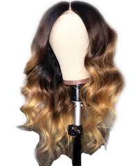 Ombre Remy Human Hair Body Wave Hair 13x4 Lace Frontal Wig 8-24inch 1B/27 Color