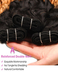 Remy Brazilian Ombre Human Hair 3 Bundles Weaves with 4x4 Lace Closure Water Wave Hair 1B/27 Color