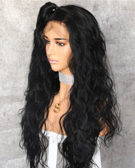 Synthetic Body Wave Hair 13x6 Lace Frontal Wig 22-24inch Natural Color Fiber Hair Wigs