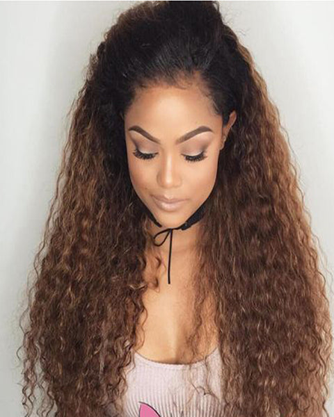 Ombre Remy Human Hair Deep Curly Wave Hair 13x4 Lace Frontal Wig 12-24inch 1B/30 Color