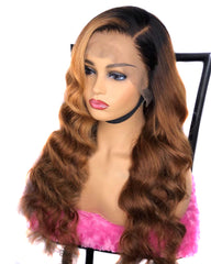 Ombre Remy Human Hair Body Wave Hair 13x6 Lace Frontal Wig 8-26inch 1B/30 Color