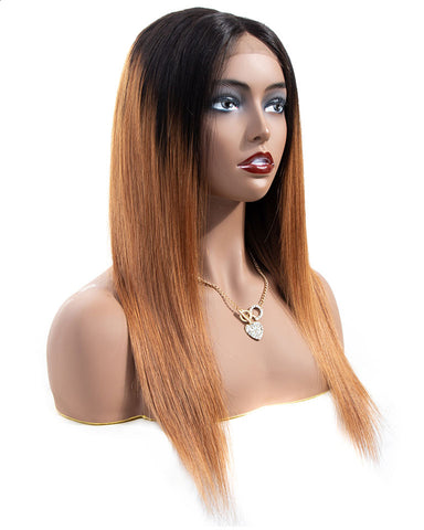 Ombre Remy Human Hair Straight 13x6 Lace Frontal Wig 8-26inch 1B/30 Color
