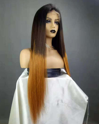 Ombre Remy Human Hair Straight 360 Lace Frontal Wig 10-22inch 1B/30 Color