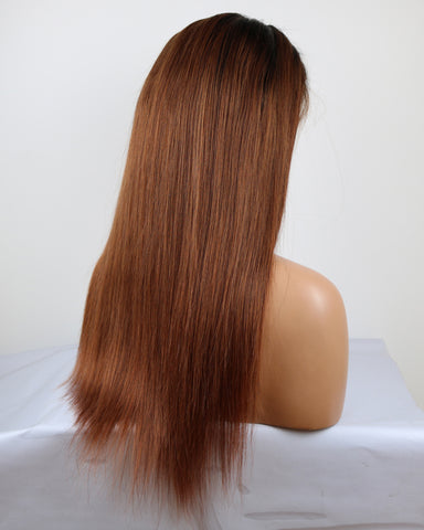 Ombre Remy Human Hair Straight 4x4 Lace Closure Wig 12-26inch 1B/30 Color