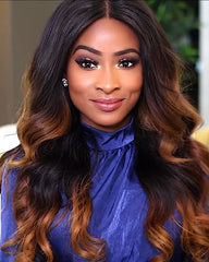 Ombre Remy Human Hair Body Wave Hair 13x4 Lace Frontal Wig 12-24inch 1B/30 Color