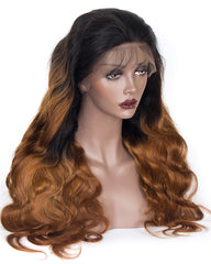 Ombre Remy Human Hair Body Wave Hair 360 Lace Frontal Wig 10-26inch 1B/30 Color