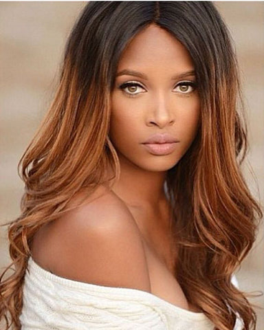 Ombre Remy Human Hair Body Wave Hair 4x4 Lace Closure Wig 14-26inch 1B/30 Color