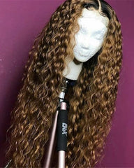 Ombre Remy Human Hair Deep Curly Wave Hair 13x6 Lace Frontal Wig 12-26inch 1B/30 Color