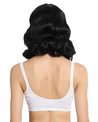 Synthetic Long Finger Wavy Wigs for Women Rockabilly Vintage Wig Audrey Hepbum Short Bang Wig Black Color