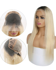 Ombre Remy Human Hair Straight 13x4 Lace Frontal Wig 8-24inch 1B/613 Color