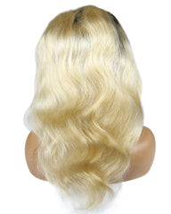 Ombre Remy Human Hair Body Wave Hair 13x4 Lace Frontal Wig 12-24inch 1B/613 Color