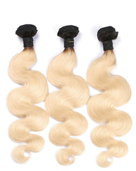 Ombre Remy Braziian Body Wave Human Hair 3 Bundles 10-26inch 1B/613 Color