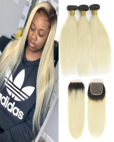 Remy Brazilian Ombre Human Hair Bundles Weaves with 4x4 Lace Closure Straight Hair 1B/613 Color