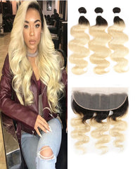 Remy Brazilian Ombre Human Hair Bundles Weaves with 13x4 Lace Frontal Body Wave Hair 1B/613 Color