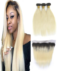 Remy Brazilian Ombre Human Hair 3 Bundles Weaves with 13x4 Lace Frontal Straight Hair 1B/613 Color
