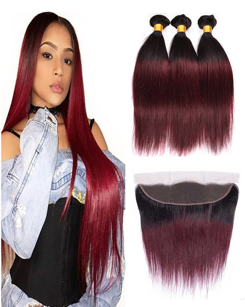 Remy Brazilian Human Hair Bundles Weaves with 13x4 Lace Frontal Straight 1B/99J Color