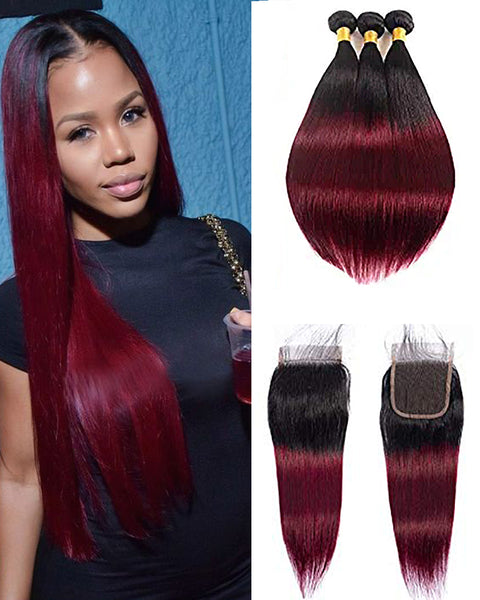 Remy Brazilian Human Hair Bundles Weaves with 4x4 Lace Closure Straight Hair 1B/99J Color