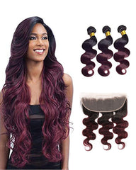 Remy Brazilian Human Hair Bundles Weaves with 13x4 Lace Frontal Body Wave Hair 1B/99J Color