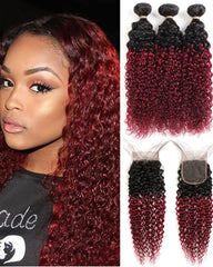 Remy Brazilian Human Hair Bundles Weaves with 4x4 Lace Closure Curly Wave Hair 1B/99J Color