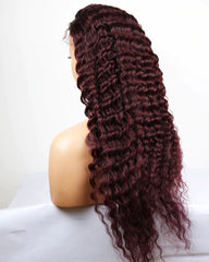 Remy Human Hair Deep Wave Hair 13x4 Lace Frontal Wig 8-26inch 1B/99J Color