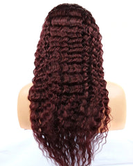 Remy Human Hair Deep Wave Hair 13x6 Lace Frontal Wig 8-26inch 1B/99J Color