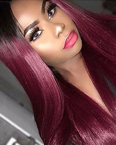Synthetic Straight Hair 13x4 Lace Frontal Wig 1B/99J Color