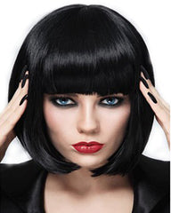 Short Bob Wigs Black Wig for Women with Bangs Straight Synthetic Wig 12inch