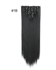 Clip In Synthetic Hair Extensions 7 Pieces 22inch Long Hairpiece Straight Hair
