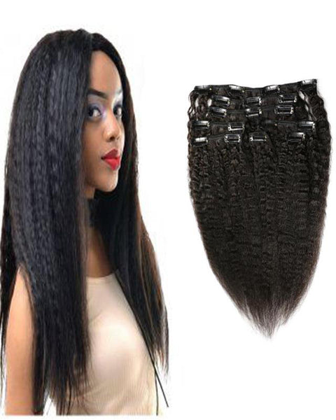 Clip In Human Hair Extensions Brazilian Remy Kinky Straight Hair Natural Color 7 Pieces/Set 100 grams