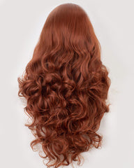 Body Wave Half Hand Tied Lace Front Wigs Heat Resistant Copper Red Long Synthetic Hair Wig 18 Inches