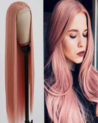 Long Straight Hair Pink Color Lace Wigs Glueless Heat Resistant Fiber Hair Synthetic Lace Front Wigs for Fashion Women