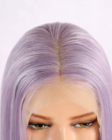 Synthetic Straight Hair 13x6 Lace Front Wig 14inch Light Purple Bob Wig for Women Pre Plucked with Natural Hairline and Baby Hair