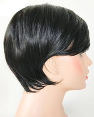 Remy Short Human Hair Wig None Lace Hair Wig 4inch Natural Color