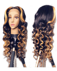 Ombre Highlights Color Wavy Remy Human Hair 13x6 Deep Lace Frontal Wig 12-26inch 1B/27 Color