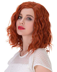 Short Curly Full Head Wig Heat Resistant Daily Dress Carnival Party Masquerade Anime Cosplay Wig and Wig Cap Orange Color 35CM