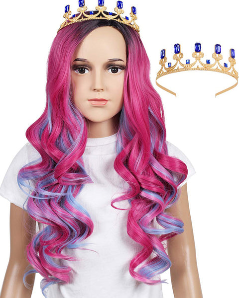 Long Wavy Pink and Light Blue Mixed Cosplay Wig with Crown (Kids Size)