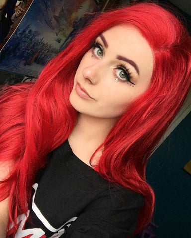 Synthetic Wigs Lace Front Wigs for Women 13X6 Lace Kanekalon Long Wave Layers Red color 22inch