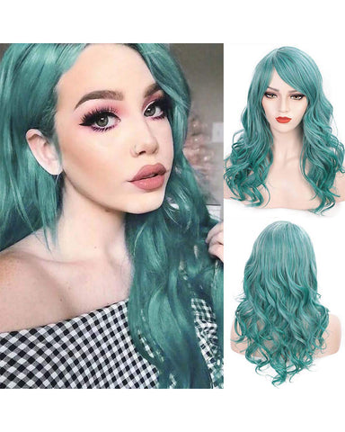Long Big Wavy Wig with Bangs Mix Color Custom Cosplay Halloween Party Wigs Synthetic Heat Resistant Hair (LakeBlue Mixed Color, 20 Inches)