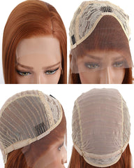 Synthetic Hair Lace Front Wigs 14inch Short Bob Wig for Women Copper Orange Straight Hair