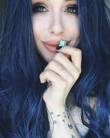 Blue Ombre Lace Front Wig Glueless Long Wavy Dark Blue Synthetic Wig with Dark Roots Middle Parting Ombre Lace Wig Heat Resistant 22 inches