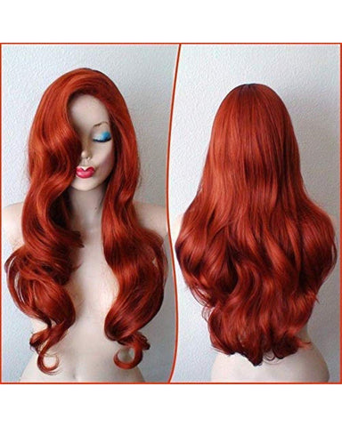 Synthetic Wig Christmas Present Copper Red Hair Female Cartoon Character Big Wave Wig