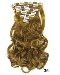 Clip In Synthetic Hair Extensions 7 Pieces 24inch Long Hairpiece Wavy