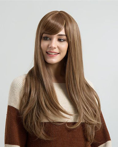 Synthetic Straight Hair 13x6 Lace Frontal Wig 22-24inch Brown Color Fiber Hair Wigs
