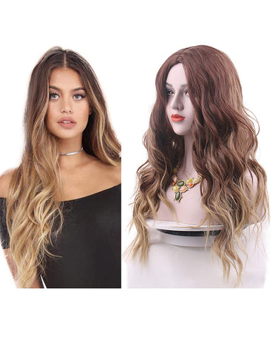 Brown Wigs for Women Ombre Blonde Long Wavy Synthetic Wigs with Wig Cap Brown to Blonde Color
