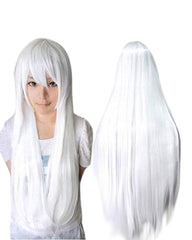 Synthetic Wig 32inches Long Straight Wigs Lolita White Cosplay Wig