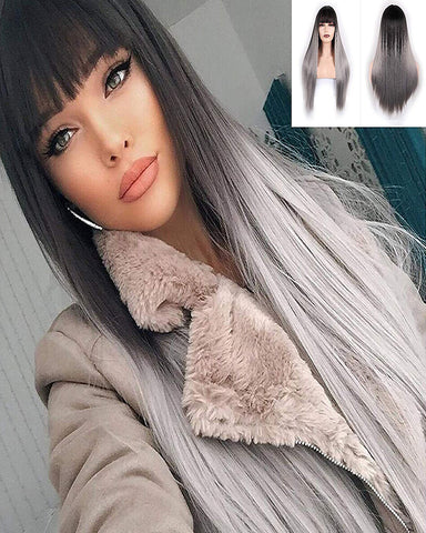 Long Straight Synthetic Wigs With Bangs High Temperature Fiber Hair Black to Grey Color 25inch