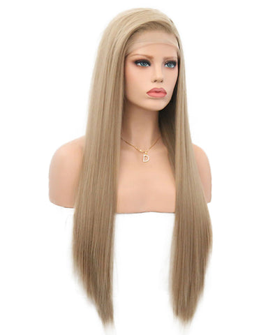 Synthetic Straight Hair 13x4 Lace Frontal Wig 20-28inch Grey Brown Color